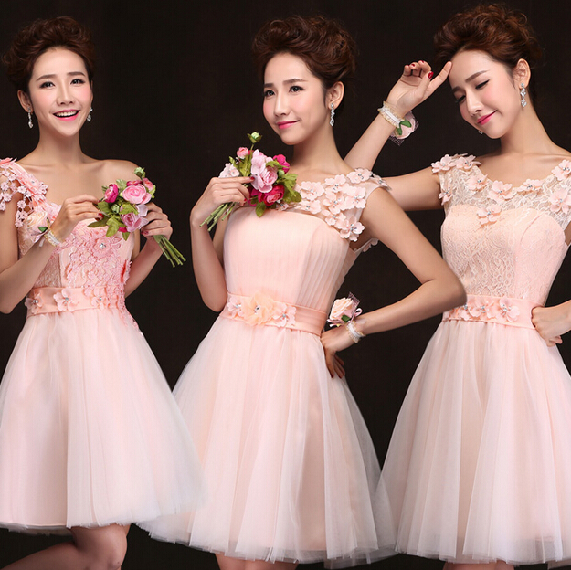 short vintage pink short tulle sister of the bride dress bridesmaid ...