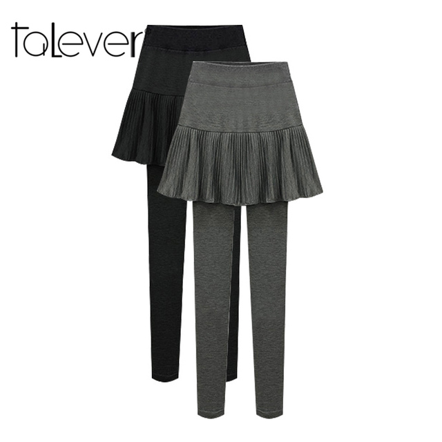 fdb7b213ff8 Winter Plus Cashmere Grey Black False 2Pcs Legging Velvet Pantskirt Women s  Fashion Leggings With Mini Skirts