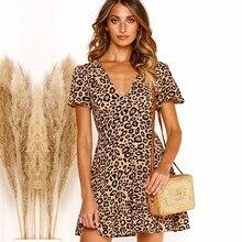 BEFORW Vintage Leopard Print Short Sleeve Summer Dress Sexy V Neck Ruffles Slim Mini Dresses 2019 Women Casual Beach Dress цена и фото
