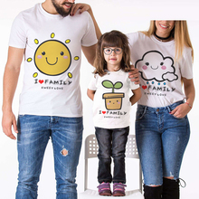 Family Look Matching Outfits Short Sleeve Tshirt Cartoon Design Sun Cloud Flower Print Father Mother Daughter Son Cotton Clothes family matching clothes summer fashion mother daughter dress father son short sleeve cotton tshirt patchwork striped family look