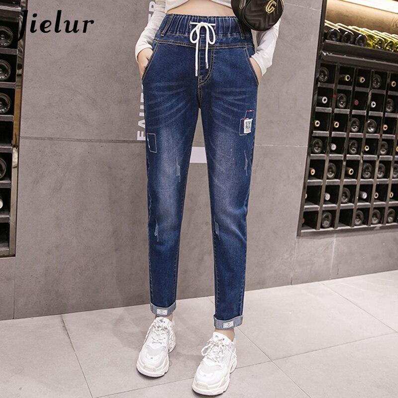 Jielur 2019 Autumn S-5XL Oversized Blue   Jeans   Women High Street Fashion Cuffs Regular   Jeans   Female Casual Ladies Denim Pants