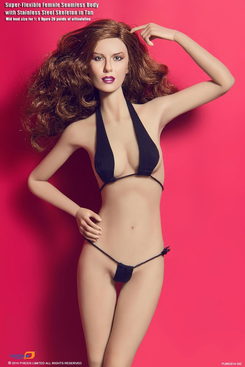 Sexy PH Figure Doll PLMB2014-S02 1/6 Super-Flexible Female Seamless Body With Steel Skeleton Mid Bust Tan Color 02 2014