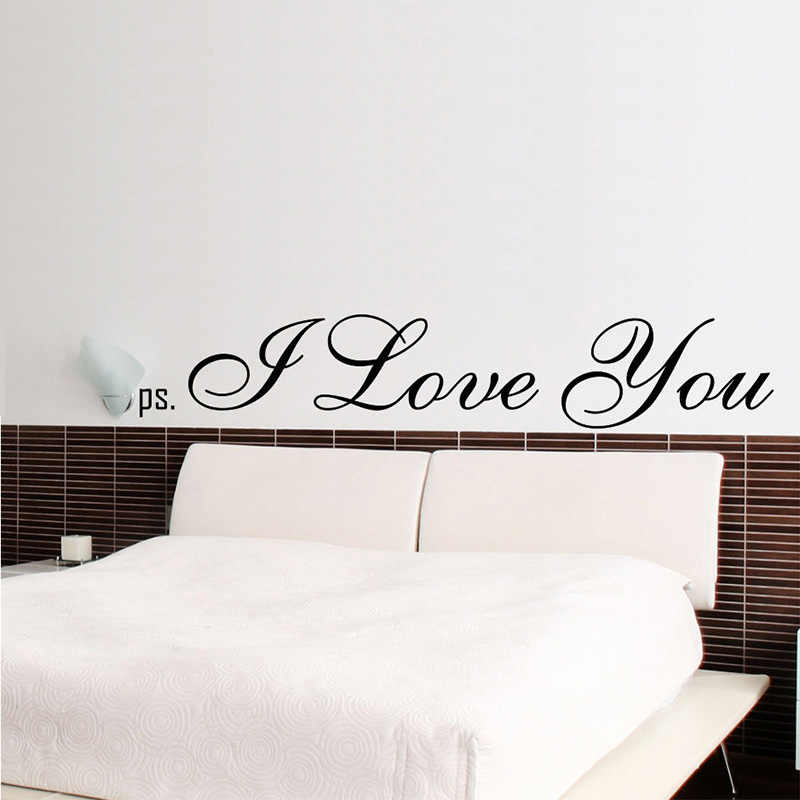 PS I Love You Wall Stickers Romantic Bedroom Wall Quote Decor Decals