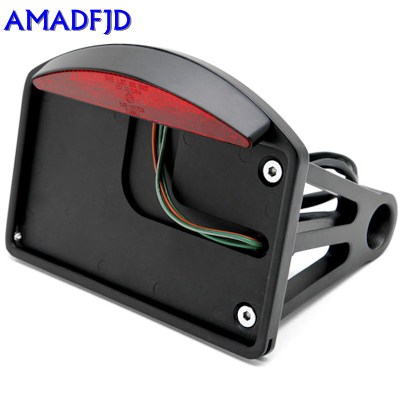 Free Shipping For Harley Sportster Dyna Softail Black LED Side Mount License Plate Tail Light motorcycle accessories rear fender eliminator license plate bolt screw for harley dyna softail sportster black silver