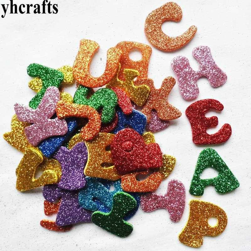 75PCS/LOT.Glitter A-Z alphabet letters foam stickers Teach your own Self english learning Kindergarten craft diy toys Room decal