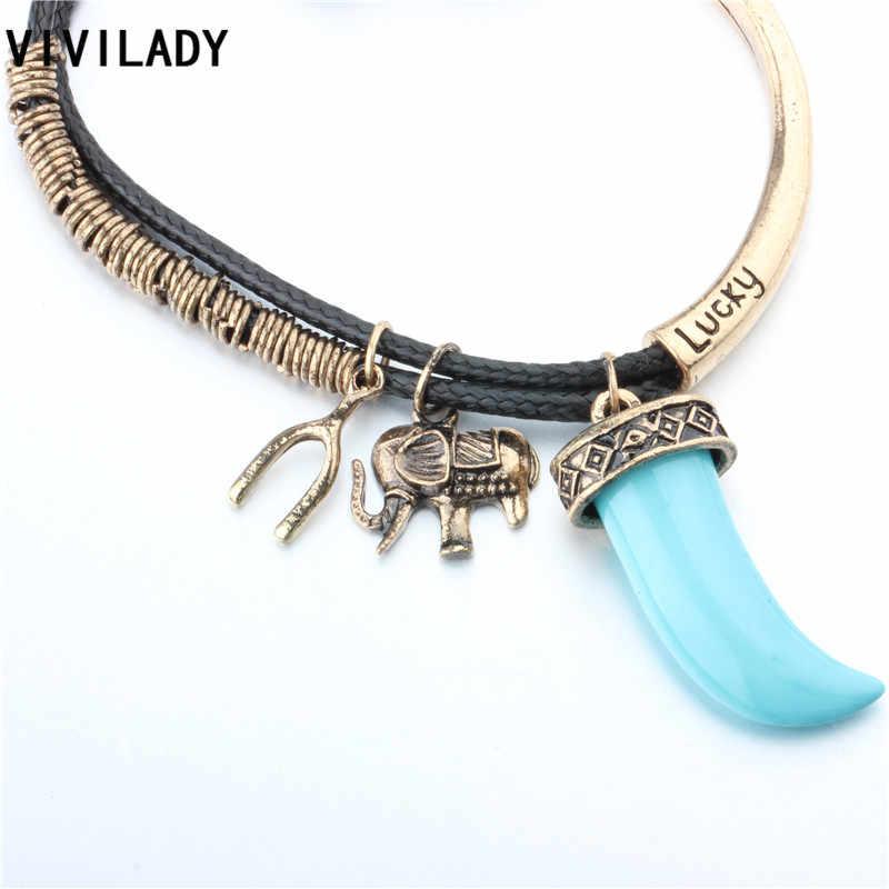 VIVILADY mode chaud éléphant souhait os chanceux cornes perles corde métal enveloppé Bracelets femmes hommes Pulseras Hombre accessoire cadeau