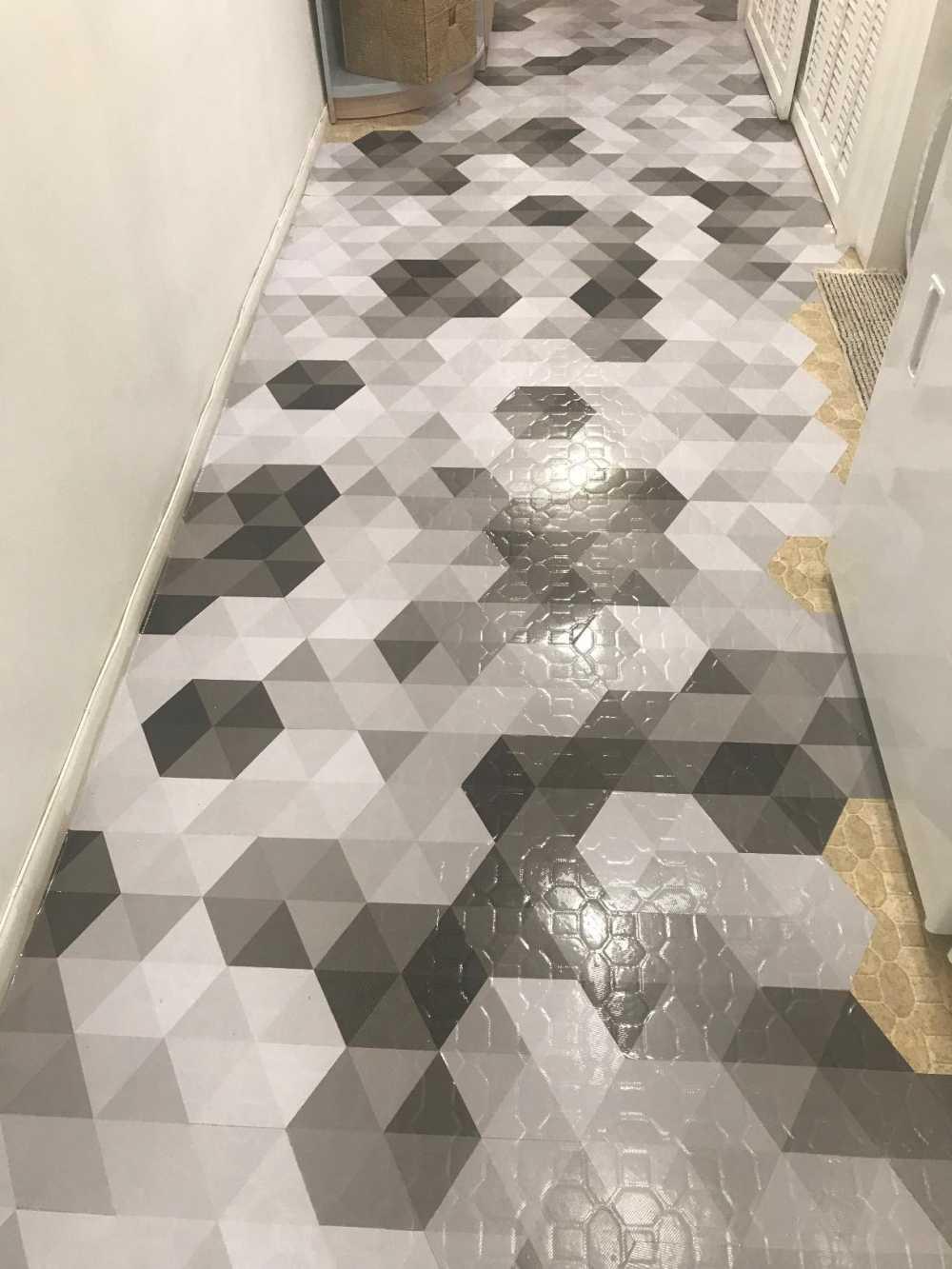Funlife Self Adhesive Floor Tiles Sticker Waterproof Bathroom Kitchen Decor Anti Skid Modern Stickers For Entrance Tile