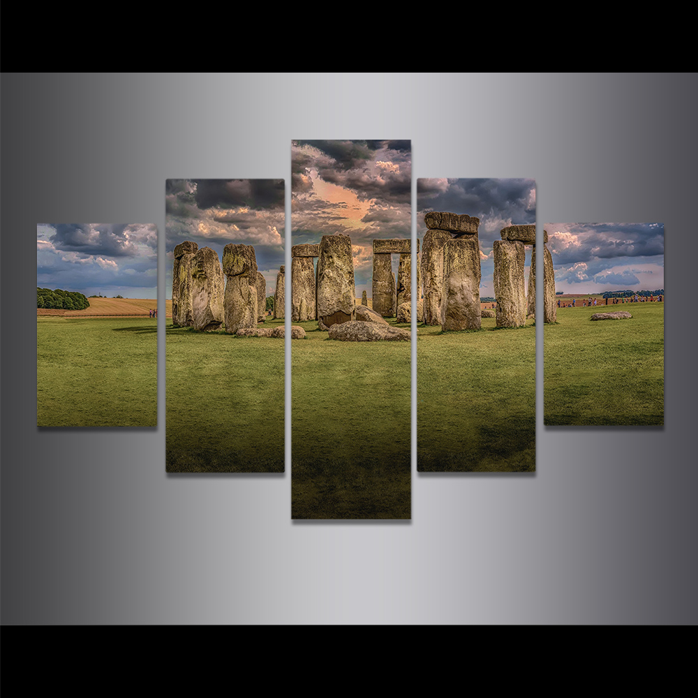 Unframed Canvas Painting British Stonehenge Grassland Dark Cloud Picture Prints Wall Picture For Living Room Wall Art Decoration