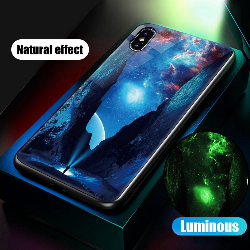 Luminous Case For iPhone X XS MAX Case For iPhone 7 6 s 8 Plus X 10 Luxury PC+Tempered Glass Pattern Silicone Edge Cover (33)