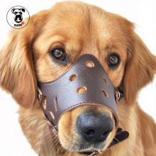 PU Leather Adjustable Pet Dog Anti-Bite Mouth Cover Mask Muzzle Cage Dog Bite Bark Chewing Animal Security Small Large Dog
