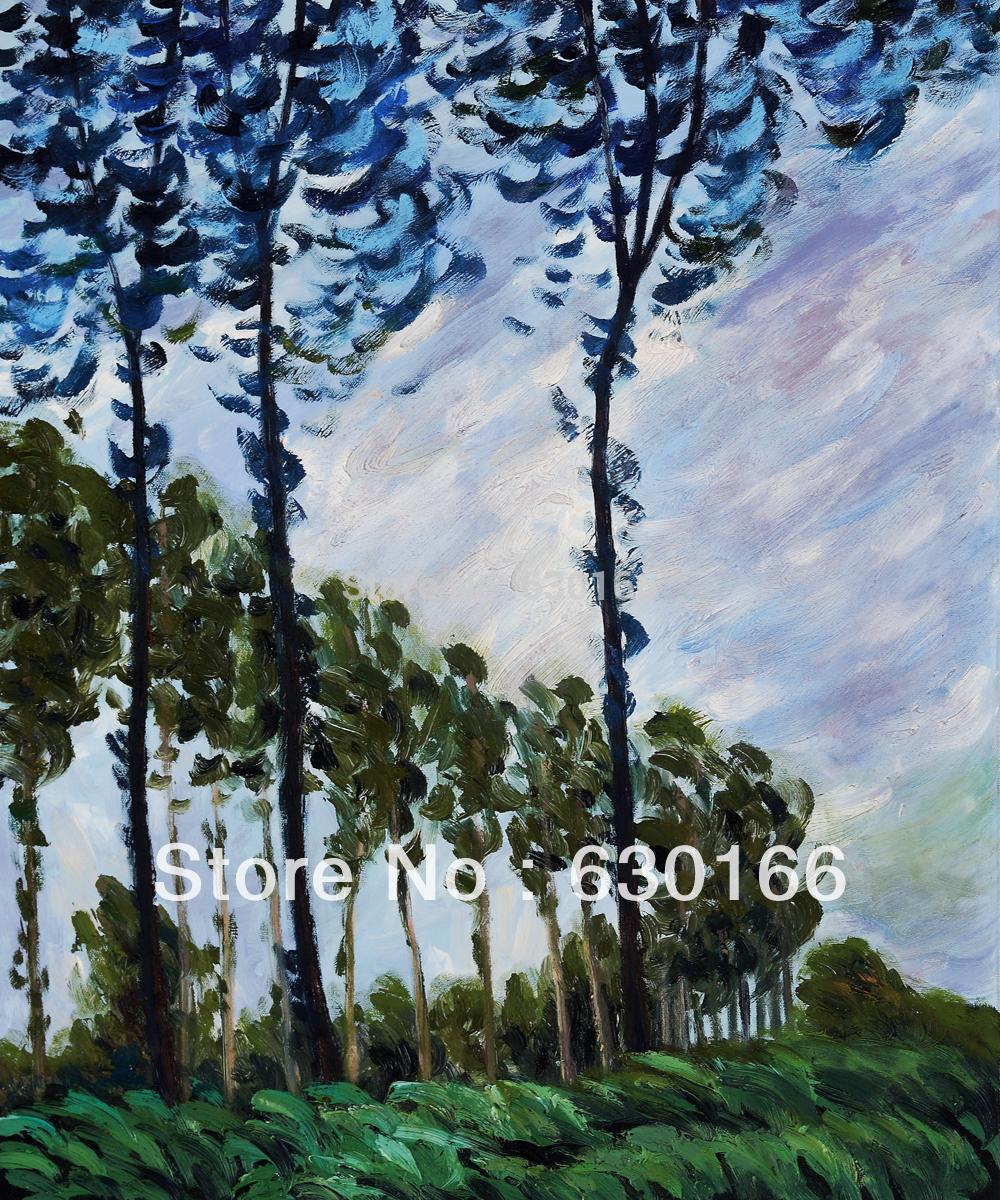 Claude Monet Oil Painting Reproductions - Wind Effect, Poplars Series, 1891 Vertical 100% Handmade QualityClaude Monet Oil Painting Reproductions - Wind Effect, Poplars Series, 1891 Vertical 100% Handmade Quality