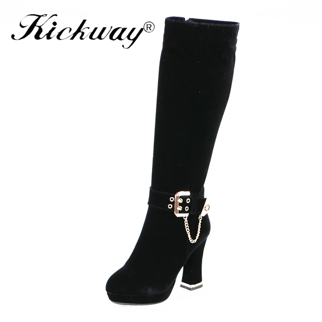 e00a26f0c82 US $33.99 40% OFF|Kickway Faux Suede Slim Boots Sexy knee high women snow  boots women's fashion winter thigh high boots shoes woman round toe-in ...