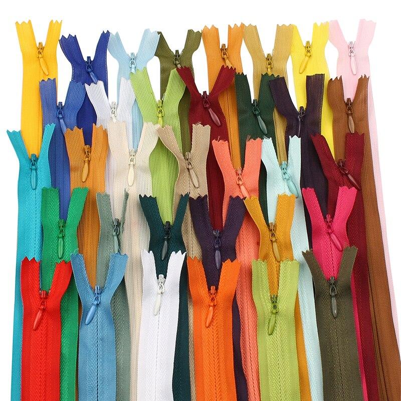 10Pcs 28cm 35cm 40cm 45cm 50cm 55cm 60cm long 3# Invisible Zippers Nylon Coil Zipper For DIY Sewing Clothes Garment Accessories