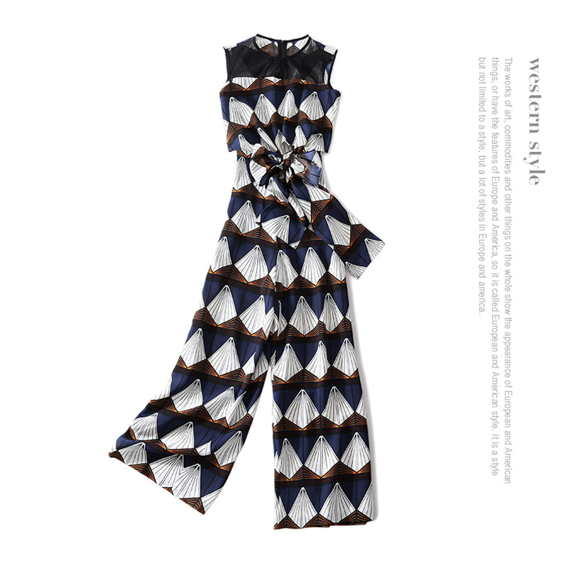 Sleeveless print wide legged jumpsuits 2018 new brand runway high quality office lady office lady women spring summer jumpsuits