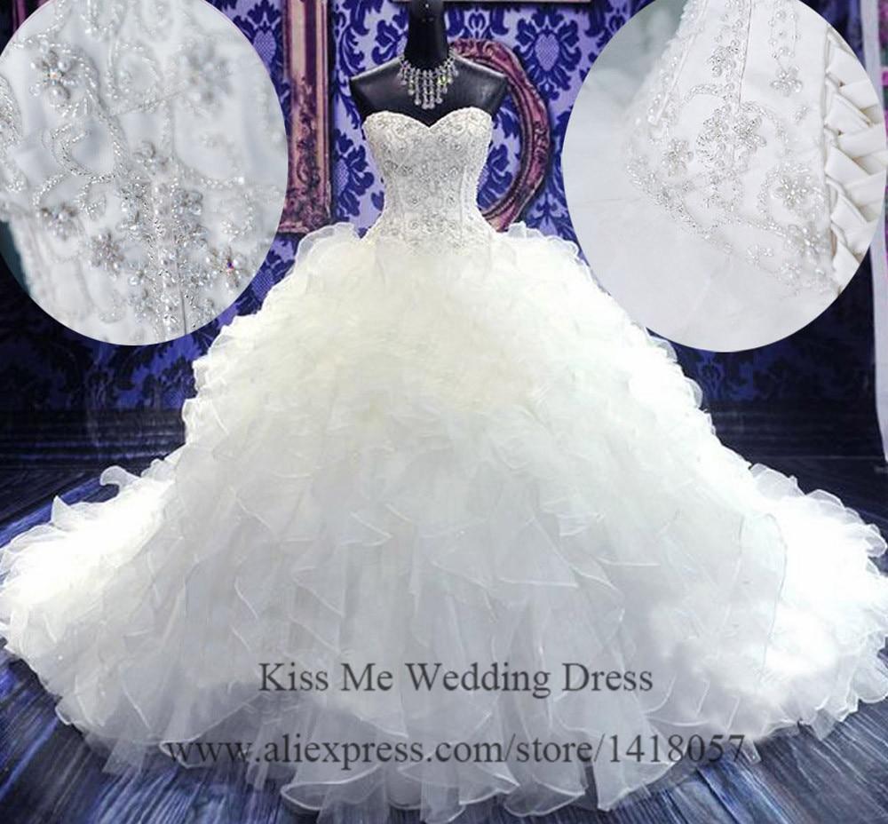 Real Sample Gorgeous Royal 2015 Wedding Dresses Crystal Organza Ruffles Chapel Train Bridal Dress Ball Gown Corset Back H660