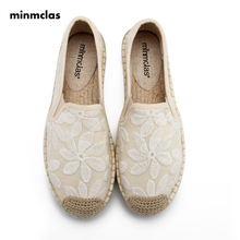Minmclas New Fashion Loafers Lace Flower Comfortable Blue Stripe Womens Casual Espadrilles Shoes Breathable Flax Hemp Canvas