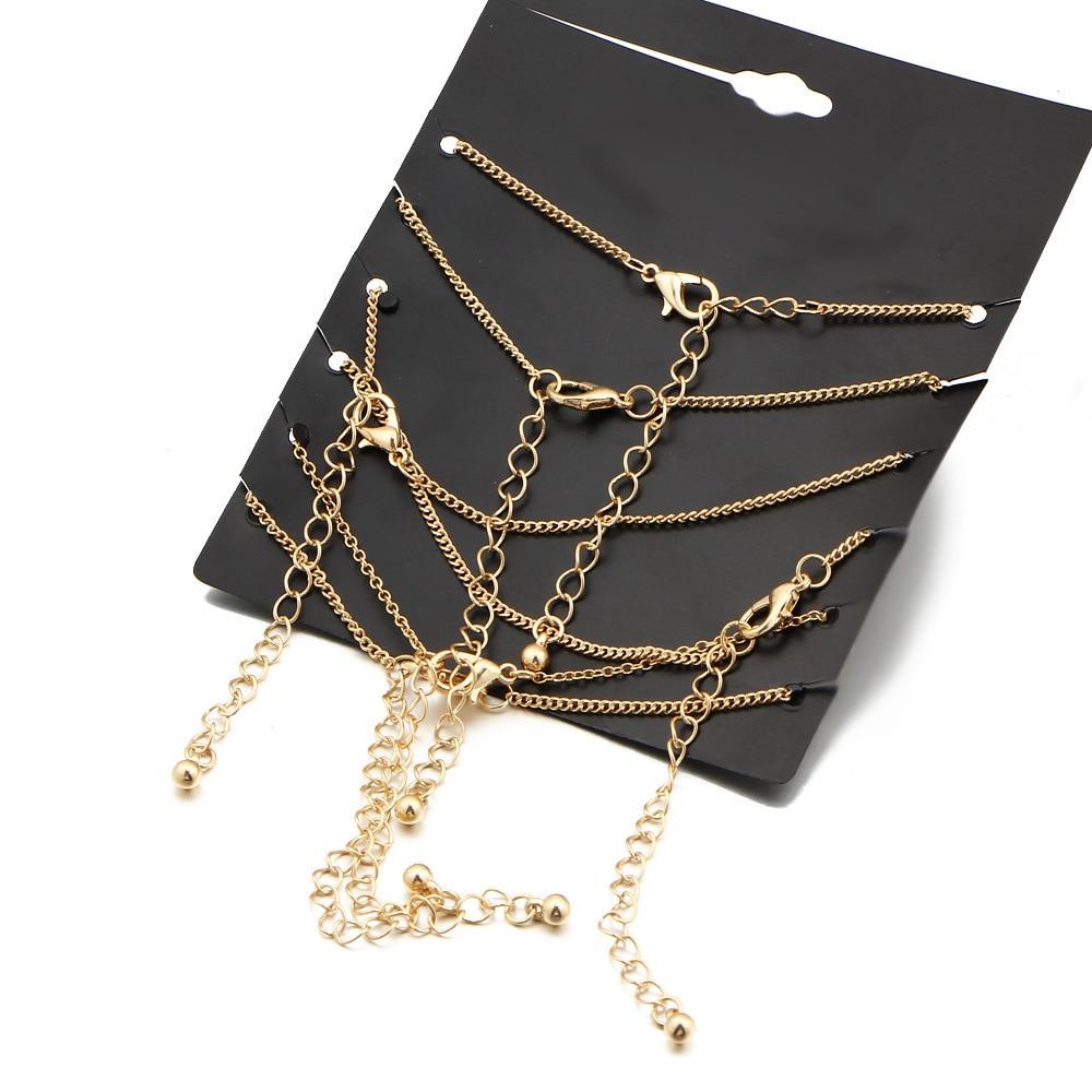 6 шт. Набор браслетов на лодыжке богемные ювелирные изделия золотые цепочки Бесконечность Двойное сердце любовь замок шарм браслеты для женщин ножной браслет
