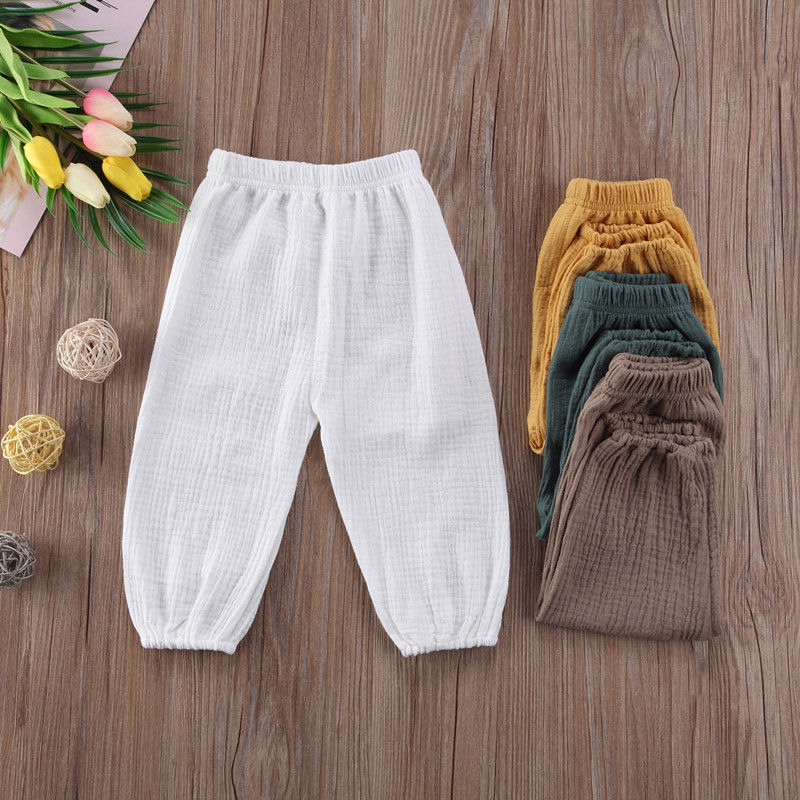 Toddler Able Kids Baby Boys Girls Wrinkled Cotton Vintage Bloomers Roupas Infantis Bottoms Trousers Legging Long Pants