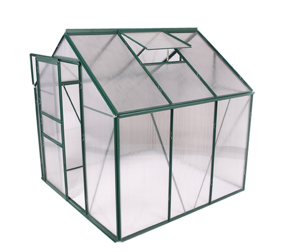 19m width cold frame greenhouse in aluminum frame and polycarbonate panels with single slide door