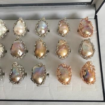 95206feaff9d 100% Naturaleza de anillo de perla de agua dulce gran barroco perla anillo  20x30mm de perlas