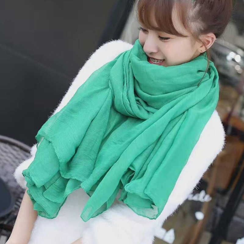 Scarves Light Green/Blue/Purple/Gray Color Cotton Linen Ladies Scarf Fashion Winter Women Neckerchief Long Female Warm Scarf