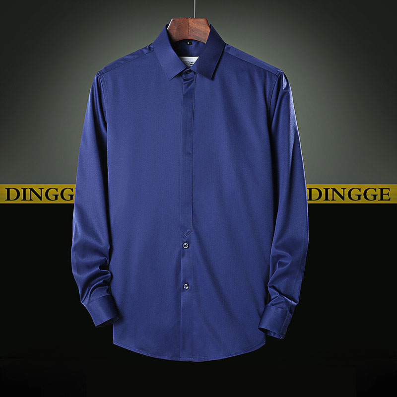 Solid Color Men Shirt Long Sleeve Classic Business Dress Shirt Dark Button Design White Lightblue Black Darkblue Shirt For Men in Dress Shirts from Men 39 s Clothing
