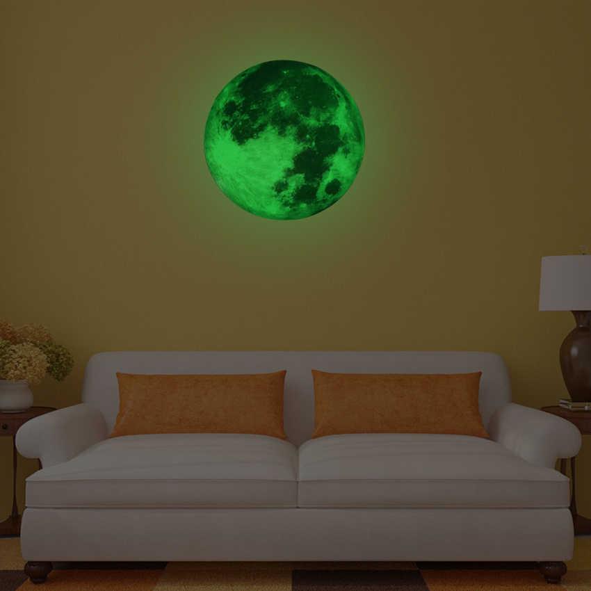 30 سنتيمتر مضيئة القمر الأرض الكرتون DIY بها بنفسك ثلاثية الأبعاد ملصقات جدار للأطفال غرفة نوم توهج في الظلام الجدار ملصق لتزيين المنزل غرفة المعيشة