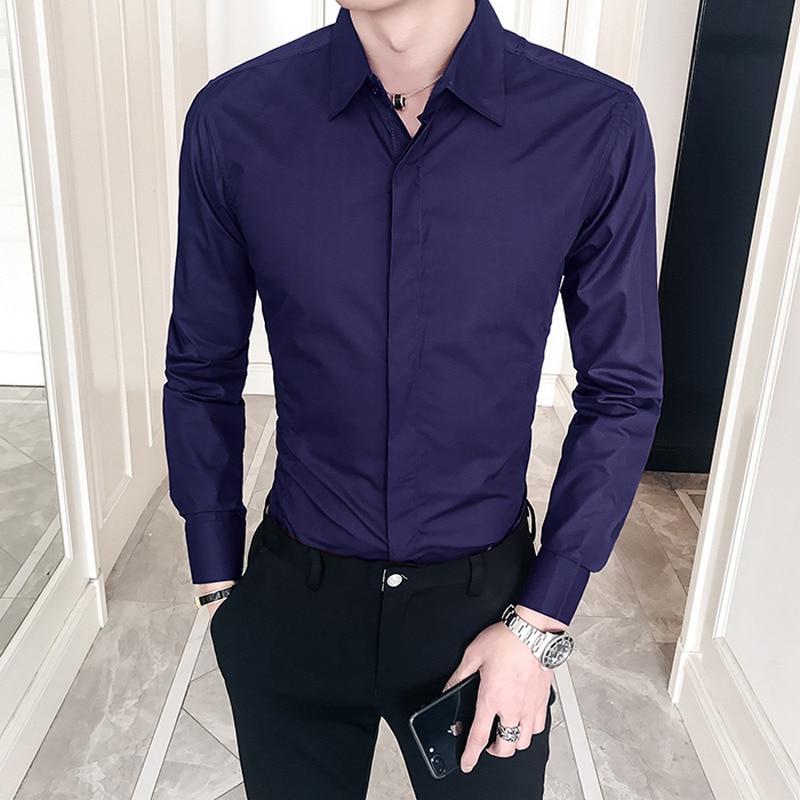 New 2019 Spring Autumn Cotton Dress Shirts High Quality Mens Casual Shirt,Casual Men Plus SizeXXXL Slim Fit Social Shirts