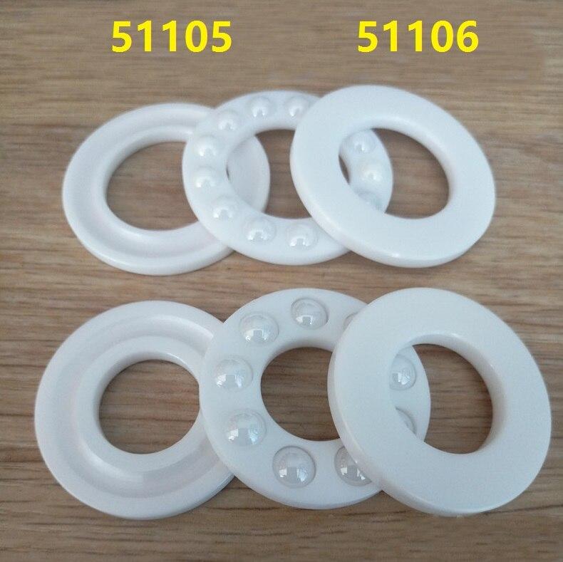 6 pcs/lot 51105 51106 ZrO2 butée à billes axiale en céramique pleine 25x42x11 30x47x11mm