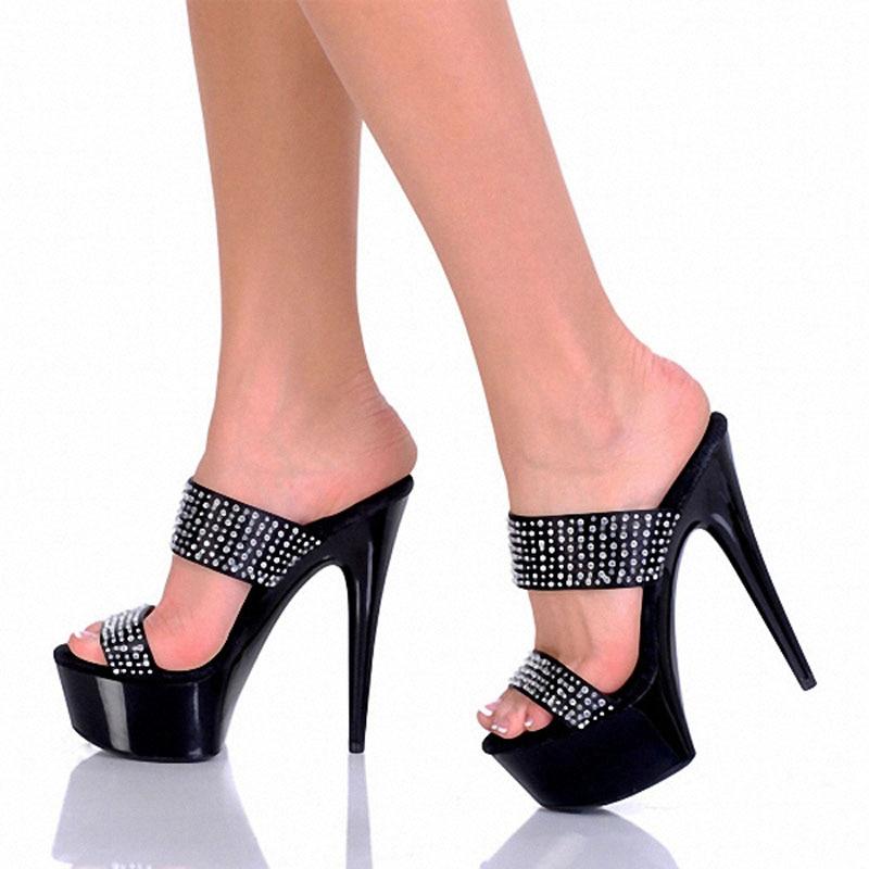 15 Elegante Del Noble Mujeres Zapatillas fósforo Rhinestone Formal Todo Zapatos Pulgadas Alto Toboganes blanco Plataforma Gladiador Laijianjinxia Negro 6 Tacón OIqCwzw