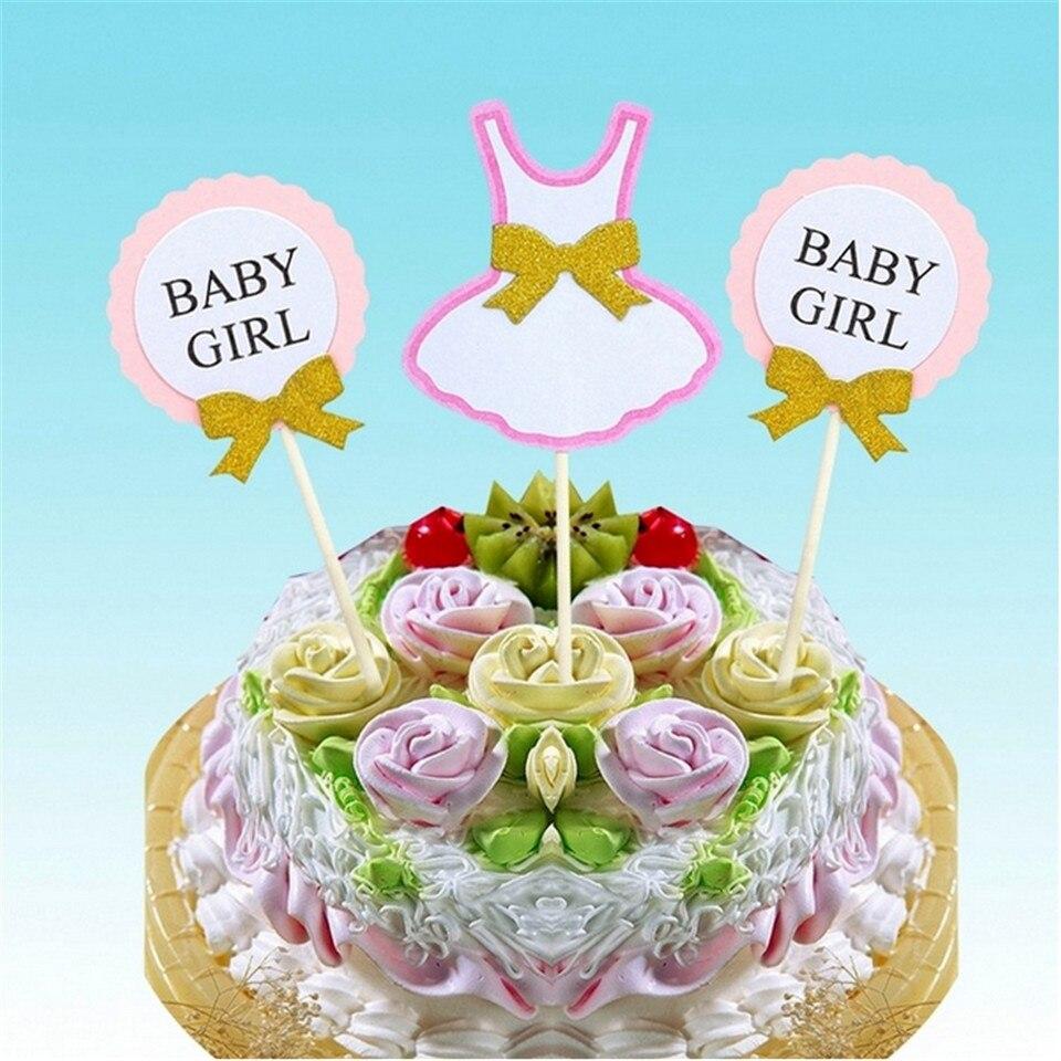 FaMaSuDu 3pcs Set Cake Topper Flag Baby Boy Girl 1 Year Old Age