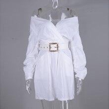Off Shoulder Long Puff Sleeve Belt White Mini Dress PU27