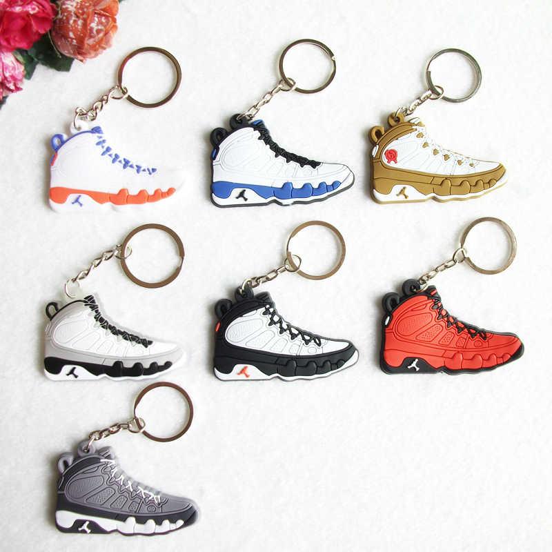 Mini silicone jordan 9 chaveiro saco charme mulher dos homens crianças chaveiro presentes tênis titular chave pingente acessórios sapatos chaveiro
