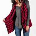 2017 Spring Women Red Plaid Checks Jacket Turn-down Collar Sleeveless Coat Female Casual Loose Outwear Tops Plus Size