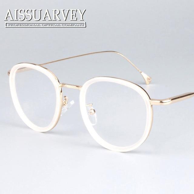 Круглый металлический каркас очки розовый женщины моды марка дизайнер очки круг винтаж рецепт прозрачные линзы черный белый новый