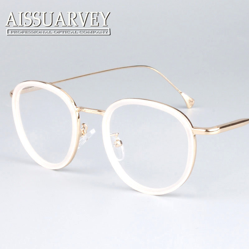 round metal frame glasses pink women fashion brand designer eyeglasses circle vintage prescription clear lenses black white new in eyewear frames from - White Frame Glasses