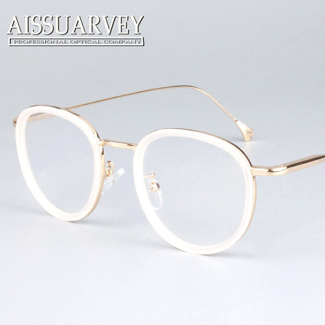 Round metal frame glasses pink women fashion brand designer eyeglasses circle vintage prescription clear lenses black white new