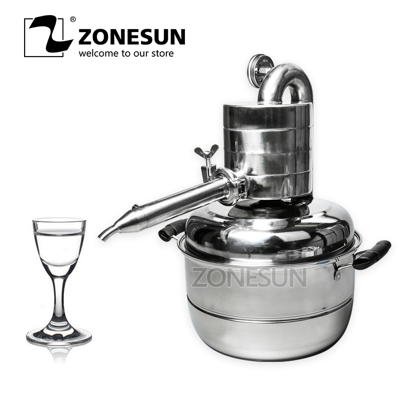 ZONESUN 10L Wine Distiller Essential Oil Distiller Bar Sets Household Facility Wine Boiler Water Liqueur Maker Brew Alcohol