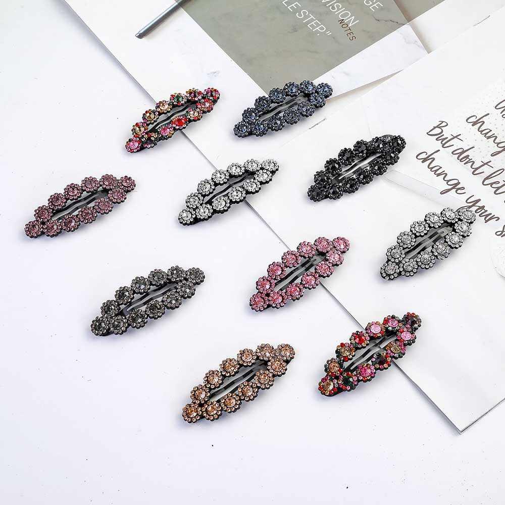 Модные корейские хрустальные заколки для волос для девушек, боковая челка, цветок, заколки для волос, заколки для волос, женские аксессуары для волос