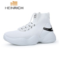 HEINRICH Breathable Sock Shoes Men Fashion High Top Sneakers Lightweight Mens Shoes Casual Thick Sole Shoes Zapatos Hombres
