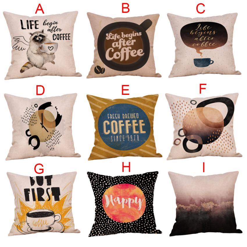 ISHOWTIENDA Coffee Print Ocean Beach Sea Cotton Linen Pillow Case Sofa Throw Cushion Cover Home Decor 45*45cm pillows decor home