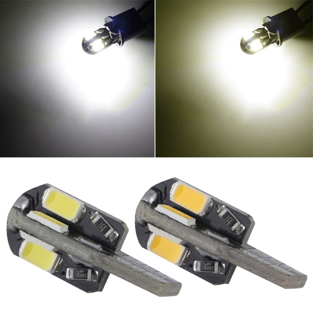 T10 2W 8 SMD LED Cool White/Warm white Light Wedge Base w5w 168 Dome 12V bulb New Dropping Shipping 10pcs h6w bax9s 24x2835 smd led cool white and warm white light bulb for car dc 12v