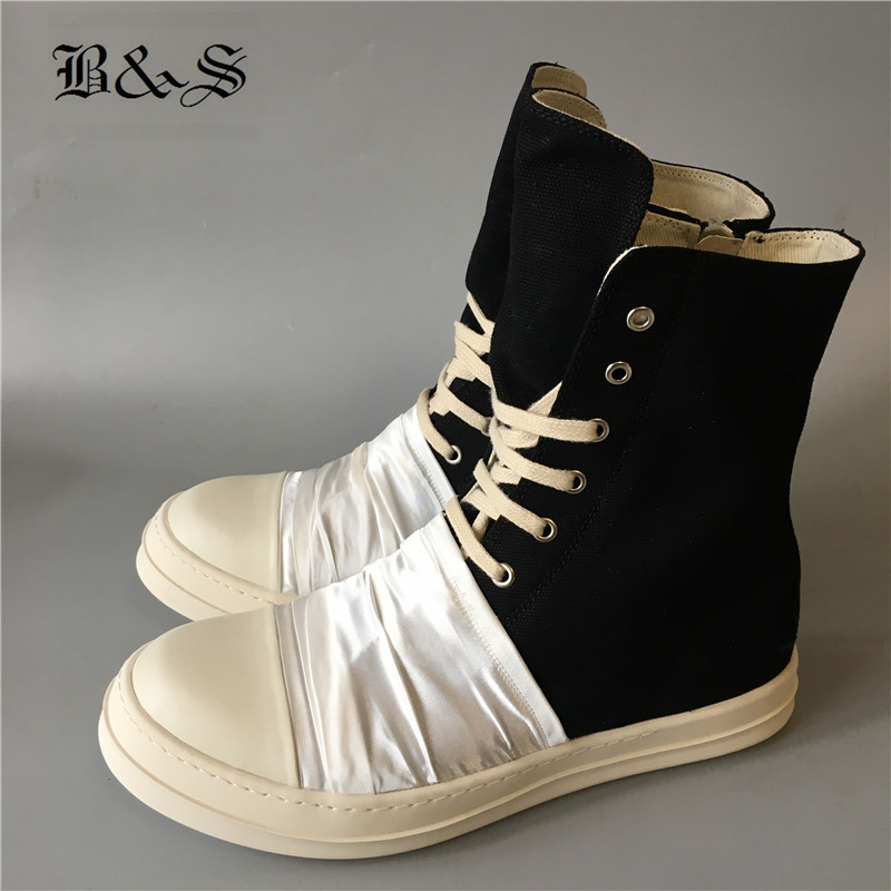 Black& Street Lace Up patchwork with white fold over cloth personalized flats canvas trainer Boots high top Hip Hop ShoesBlack& Street Lace Up patchwork with white fold over cloth personalized flats canvas trainer Boots high top Hip Hop Shoes