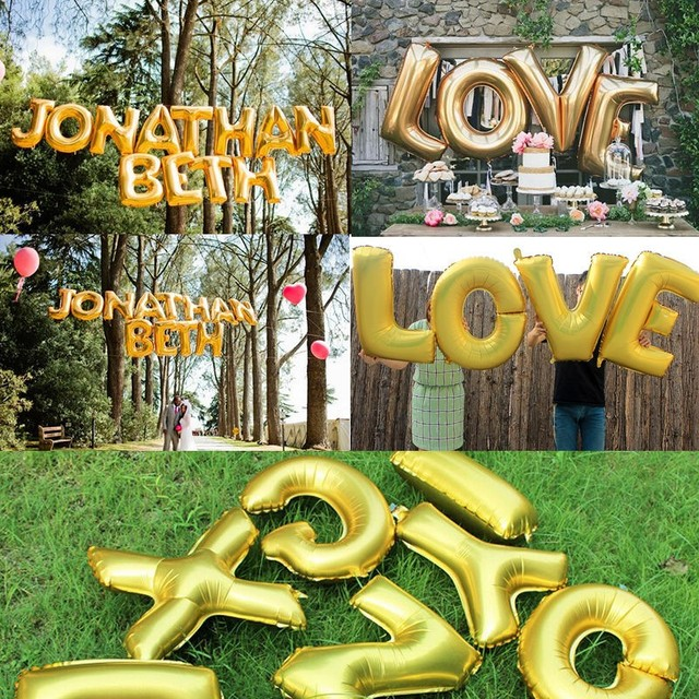 Aliexpress.: Buy 1pc Foil Cute 16 inch Gold Letters Balloons