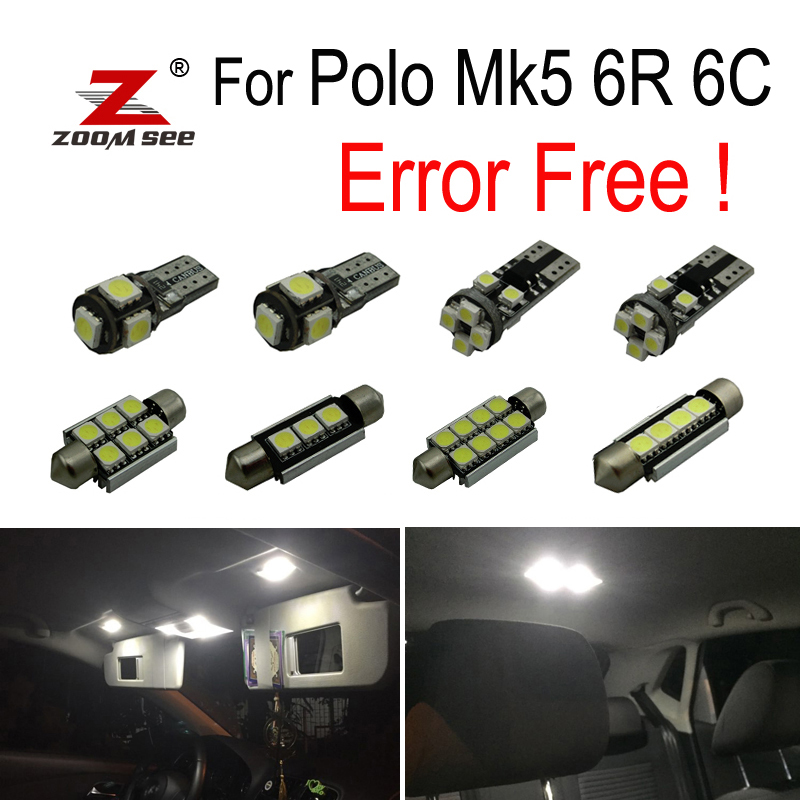 13pcs LED License Plate Lamp + Interior Dome Map Lights Bulb Kit For Polo Mk5 Polo 6R 6C (2009-2017)