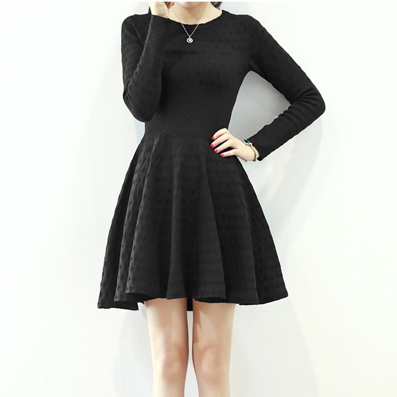 Long Sleeve Black/Red Autumn Dress Warm Knitting Dresses OL Business Wear To Work Lady A line Dresses