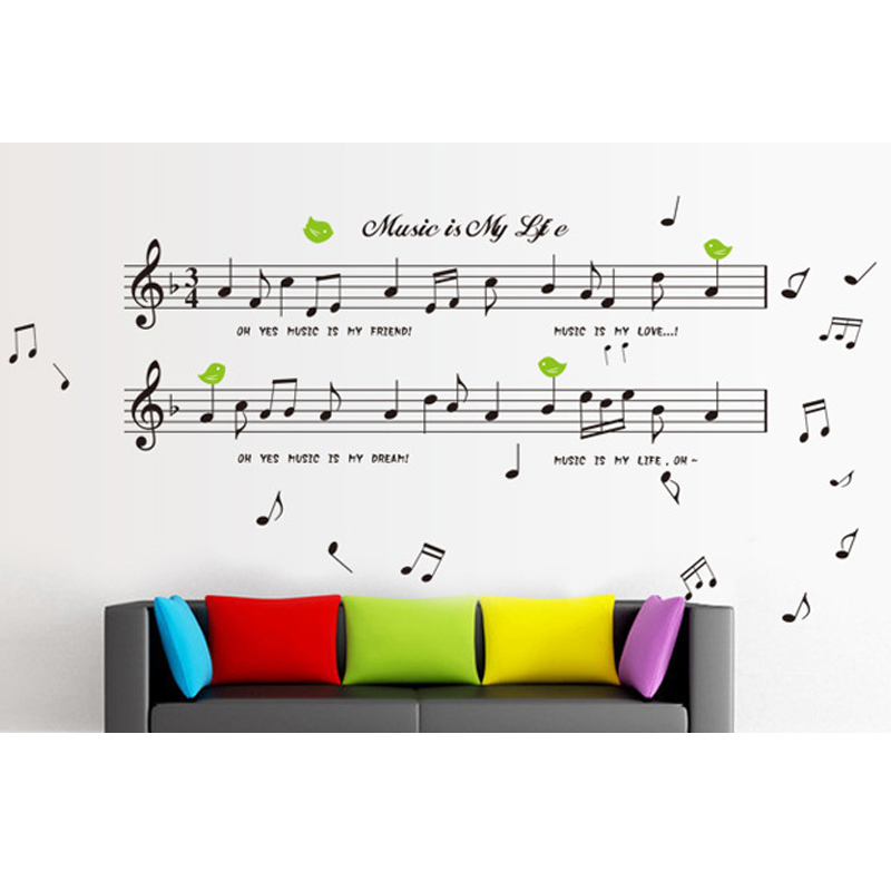 Music Notes Symbol English Letters Wall Decal Home Sticker Paper Art