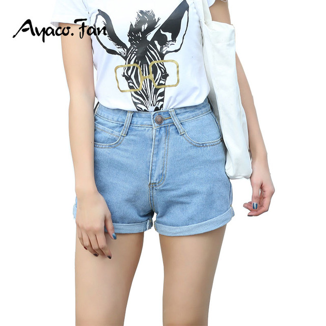 a11ffb48ba9 2018 High Waist Denim Shorts Plus Size Female Loose Short Jeans for Women  Summer Ladies Hot Shorts Cuffs Show Silm Pencil Pants