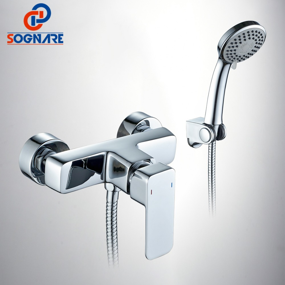 SOGNARE Bathtub Faucets Wall Mounted Bathroom Bath Shower Faucets Sets With Hand Shower Chrome Finish Mixer Tap Torneiras D5106 new chrome finish wall mounted bathroom shower faucet dual handle bathtub mixer tap with ceramic handheld shower head wtf931