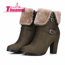 Теплые зимние женские ботинки на платформе и высоком каблуке с искусственным мехом; женские модные ботильоны; сезон осень-зима; женская обувь; Botas# Y0754228F